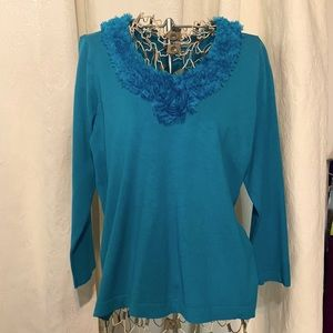 Laura Petites ruffled floral v-neck teal sweater LP